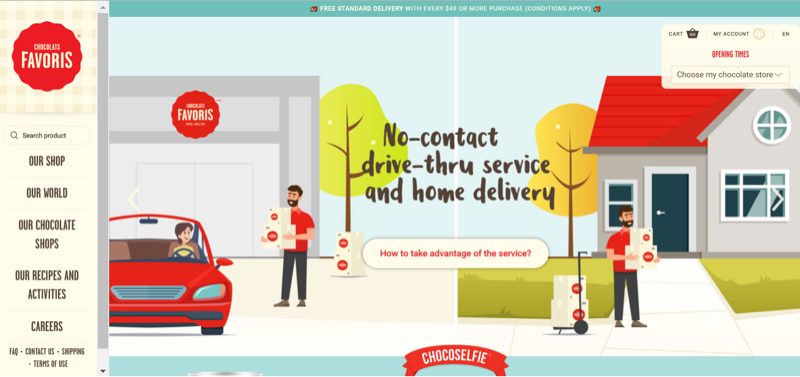 A homepage banner on Chocolats Favoris' website promotes their no-contact drive-through and home delivery services.