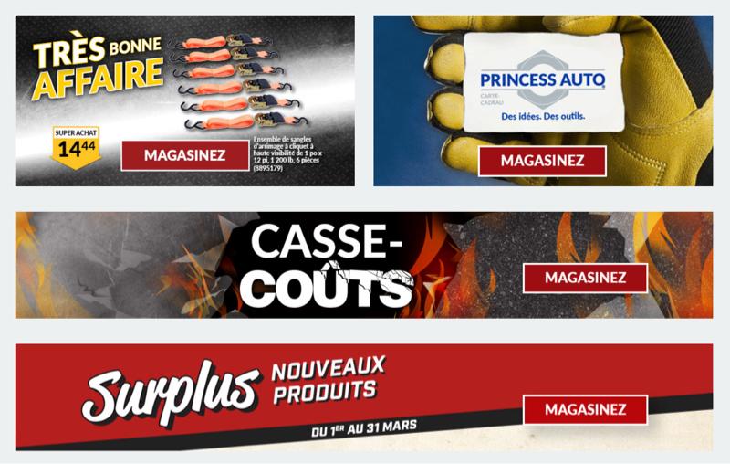 Plusieurs bandeaux numériques faisant la promotion d'offres et de cartes-cadeaux de détaillants en ligne.