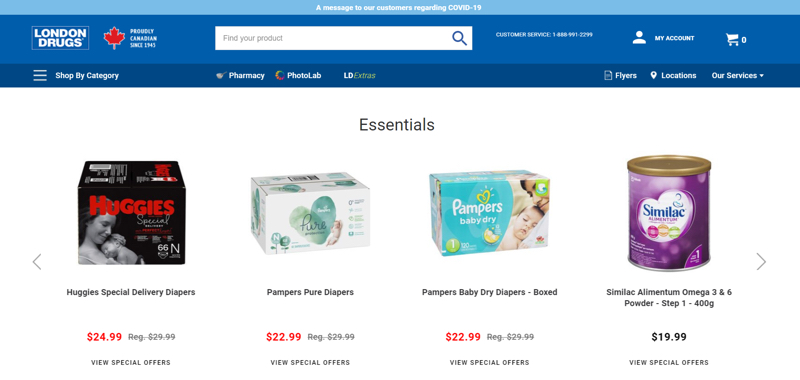 The homepage of London Drugs' website promotes baby essential items, including diapers and formula, that are on special.