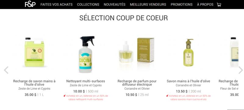 Page d'accueil de F&P faisant la promotion des produits préférés de ses clients.