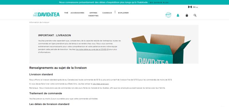Le site Web de DavidsTea informe les clients d'un délai dans le traitement des commandes.