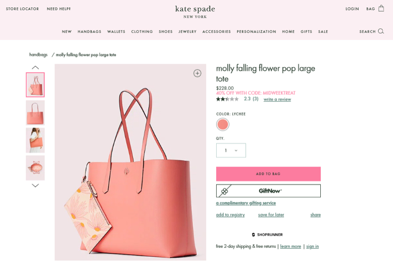 A Kate Spade product web page presenting multiple high-quality views of a handbag.