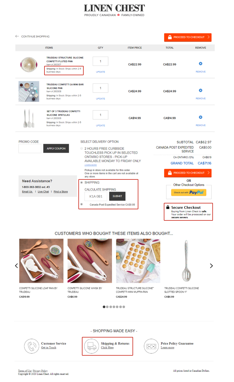 A customer's online shopping cart for Linen Chest. Stock availability, shipping estimates, the store's free shipping threshold and shipping carrier are displayed.