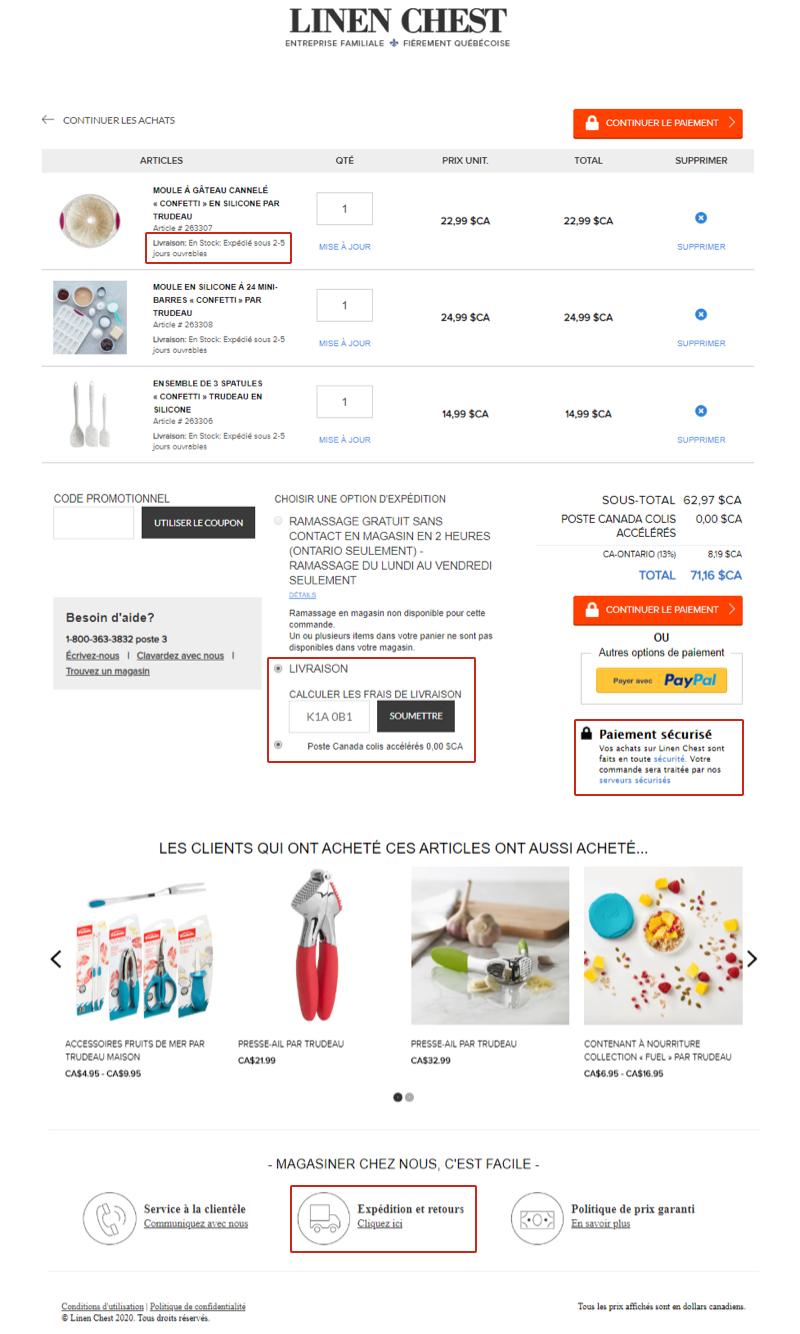 Le panier d'achat en ligne d'un client de Linen Chest. La disponibilité des stocks, les délais de livraison estimés, le seuil d'achat pour obtenir la livraison gratuite et le transporteur y sont précisés.