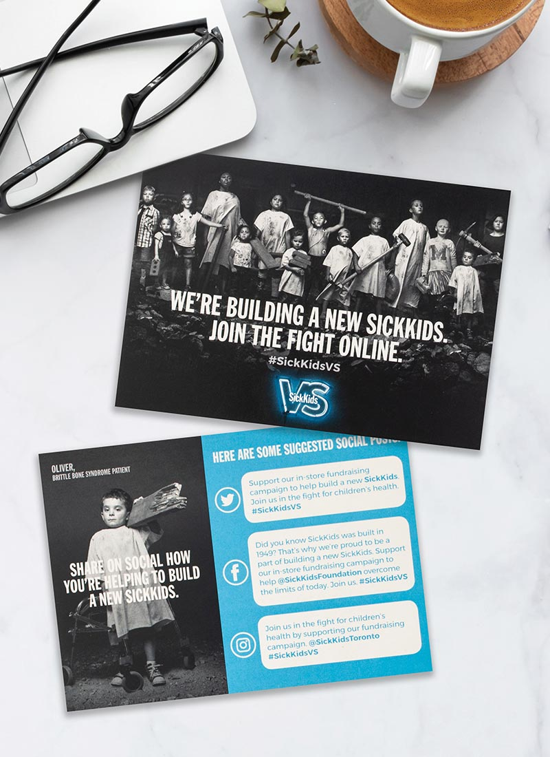 A SickKids VS campaign postcard challenges donors to join their fight online and suggests social media posts they can share.