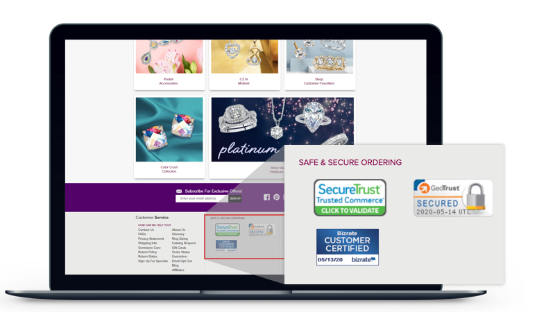 Palm Beach Jewelry prominently presents its security certifications on its website.