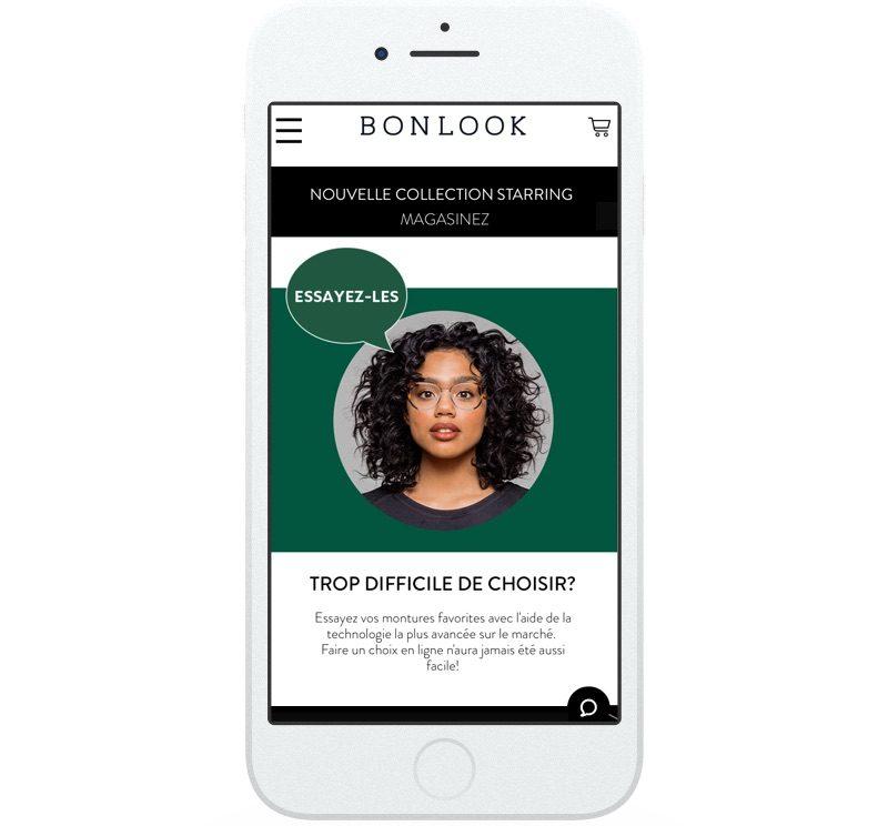 Le site Web du lunettier BonLook fait la promotion d'un outil qui permet aux acheteurs d'essayer en ligne ses plus récentes montures.