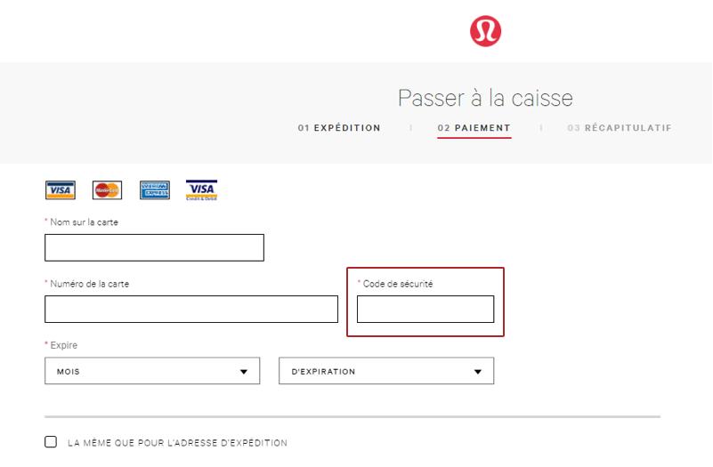 Sur le site Web de Lululemon, la page de paiement invite les clients à saisir le code de sécurité de leur carte.