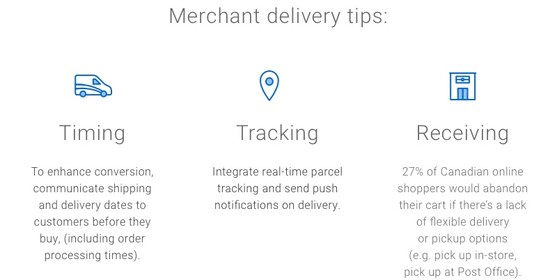 Merchants can improve the delivery experience by communicating shipping/delivery dates to customers, integrating parcel tracking and notifications, and offering flexible delivery/pickup options.