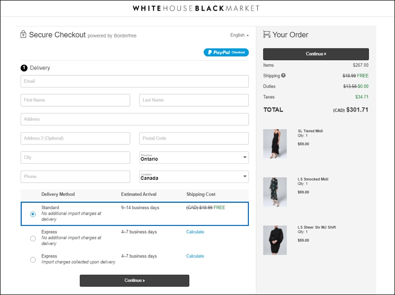 The secure checkout page for White House Black Market displays multiple delivery options for customers including standard and express.