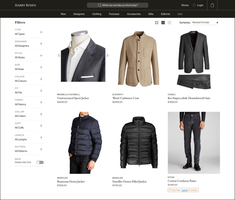 New arrivals in men's clothing are featured in a grid layout.