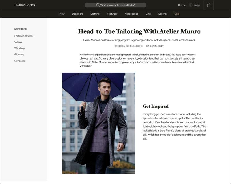A screenshot of Harry Rosen's online store.