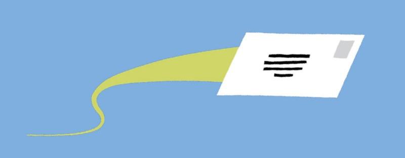 Illustration d'une enveloppe qui semble être en mouvement.