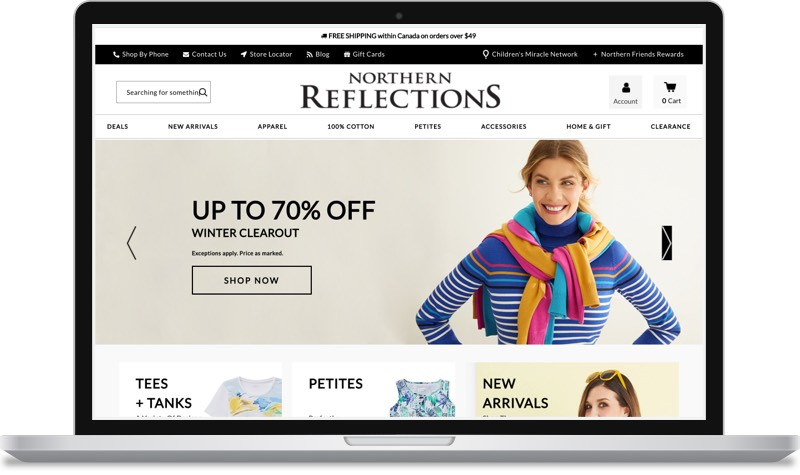 A screenshot of Northern Reflections' website.