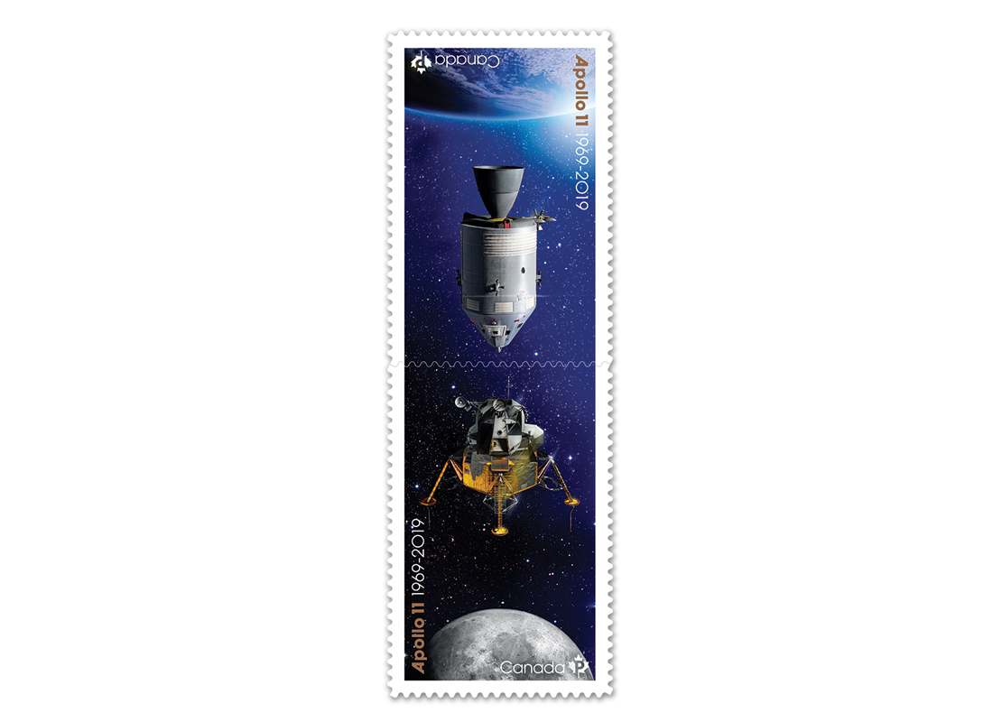 Two collectible Canada Post stamps featuring illustration of Apollo 11 mission.