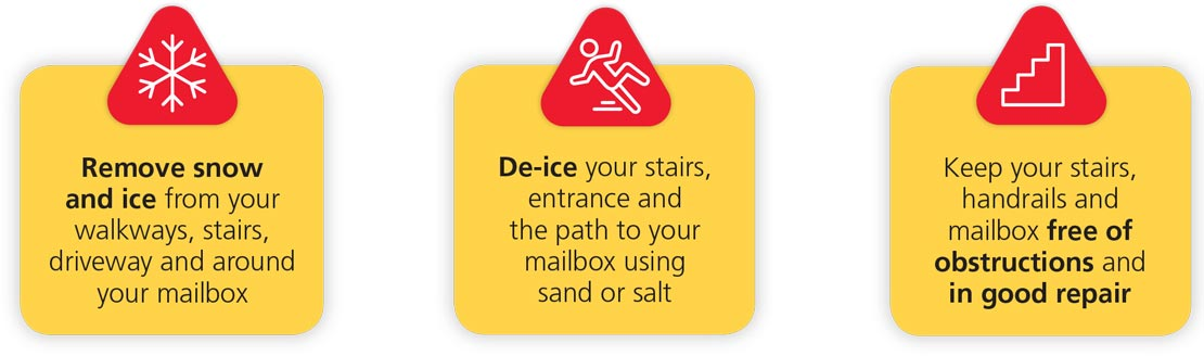 Remove snow and ice; De-ice your stairs; Keep stairs, handrails free of obstructions