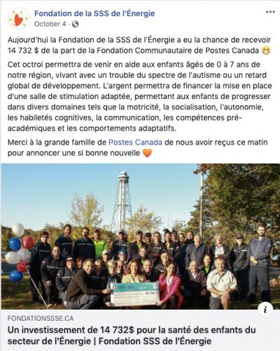 Fondation de la santé et des services sociaux de l'Énergie received $14,732 for a stimulation room for children with autism, ADHD or intellectual delays.