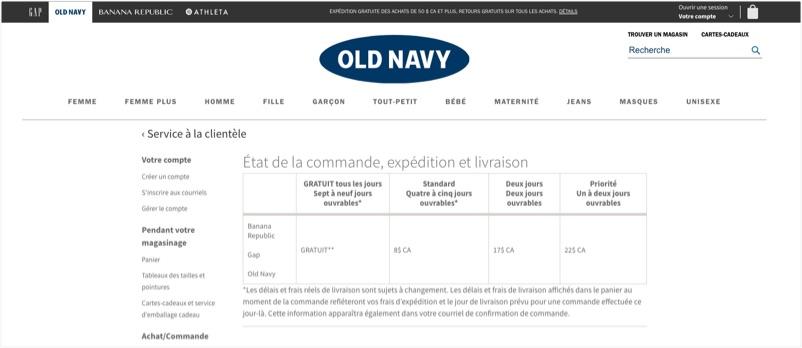 Le site Web d'Old Navy présente un tableau indiquant les différents frais et délais de livraison offerts à ses clients.