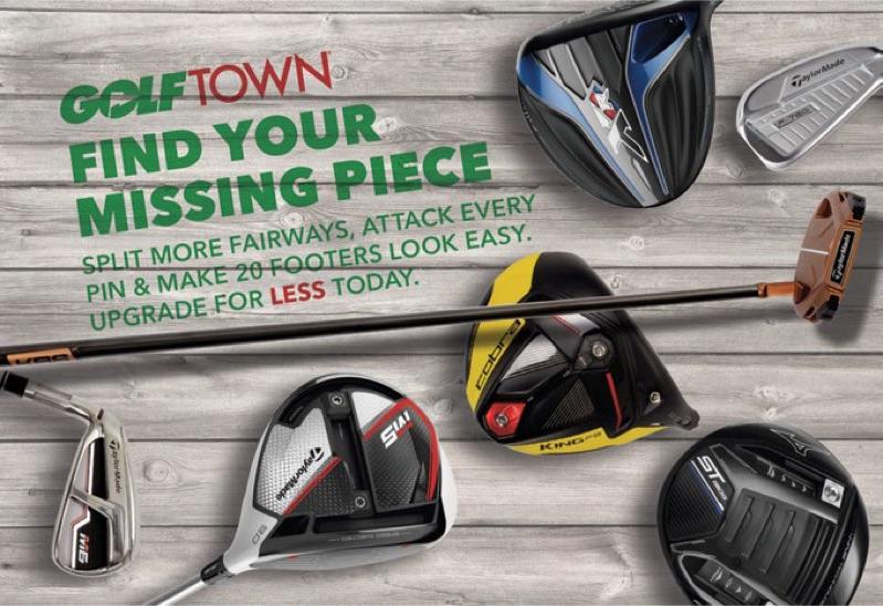 Article de publipostage de Golf Town mettant en vedette ses bâtons de golf.