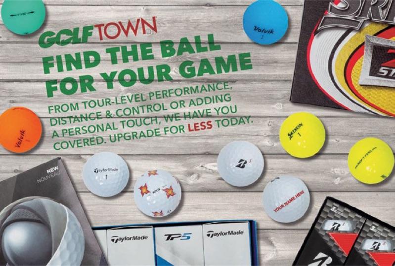 Article de publipostage de Golf Town mettant en vedette ses balles de golf.