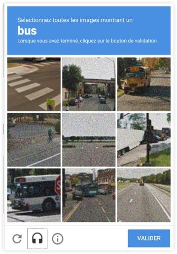 Captcha « Sélectionnez toutes les images montrant un bus. Lorsque vous avez terminé, cliquez sur le bouton de validation. »