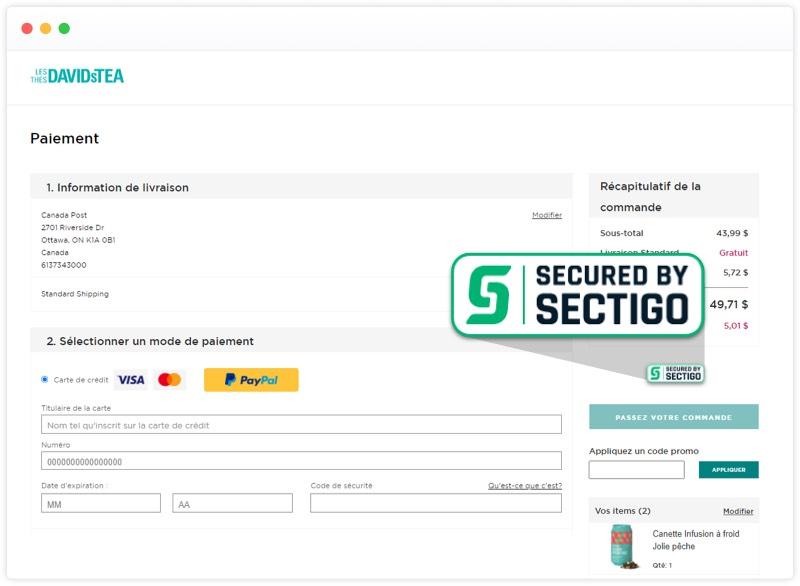 La page des transactions de Les Thés DAVIDsTEA est sécurisée par Sectigo.