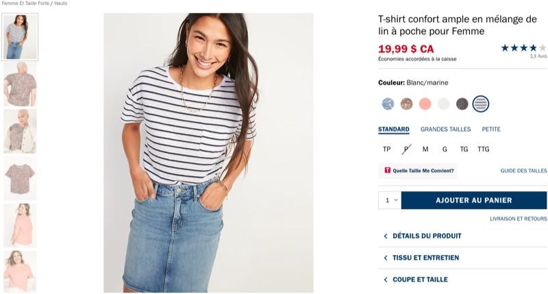 Page de produit en ligne affichant un t-shirt, un choix de tailles et d'autres renseignements sur la coupe et les tailles.