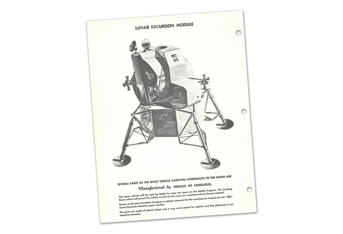Image d'archives de la brochure d'Héroux Machine Parts, vers 1969