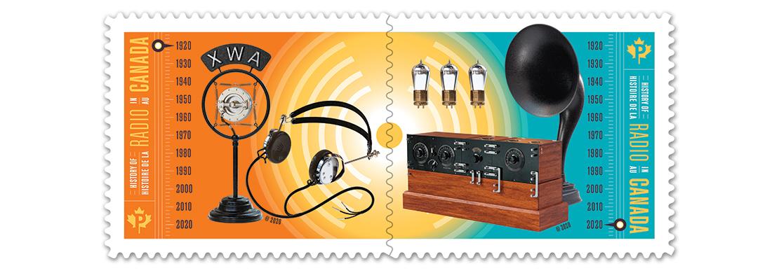 Des timbres marquent 100 ans de radio au Canada