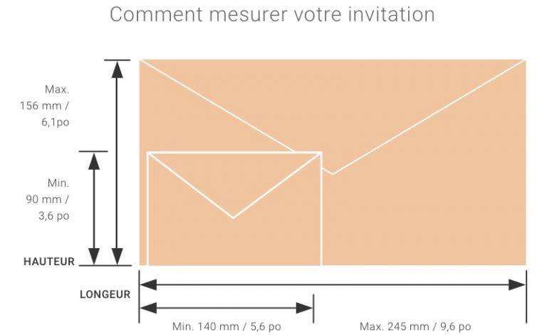 Infographie. Comment mesurer votre invitation. Minimum de 90 millimètres (3,6 pouces) et maximum de 156 millimètres (6,1 pouces) de hauteur. Minimum de 140 millimètres (5,6 pouces) et maximum de 245 millimètres (9,6 pouces) de longueur.