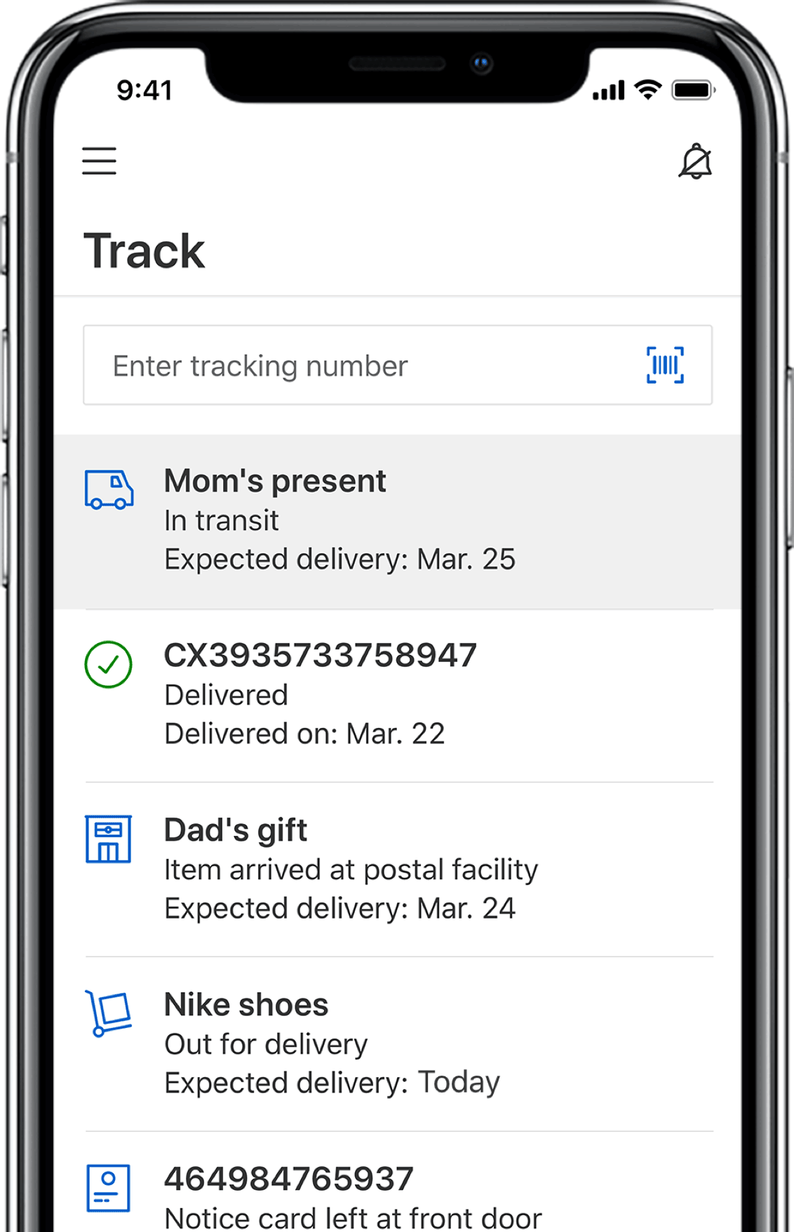 Image of a mobile phone with details about how to track packages with Canada Post and save the information on your device.