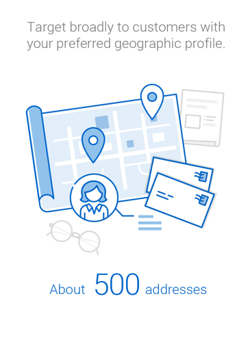 Target broadly to customers who match your preferred geographic profile using postal walks of about 500 addresses.