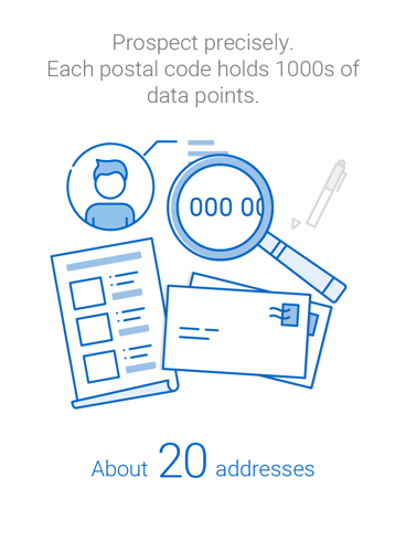 Prospect precisely. Each postal code contains an average of 20 addresses and hundreds of data points.