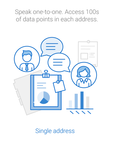 Speak one to one and access hundreds of data points that come with the postal code.