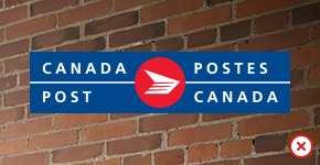 Canada Post logo set against a brick wall background