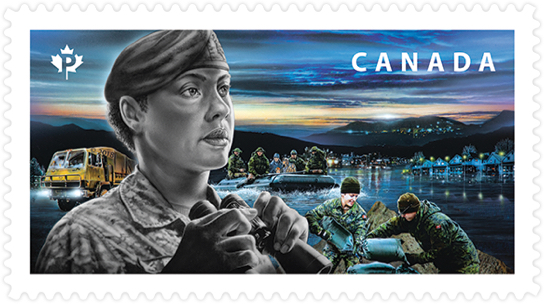 Canada Post stamp honouring Canadian Armed Forces. Stamp depicts CAF members responding to a natural disaster, a flood.