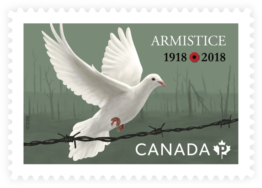 "Canada Post stamp depicting white dove and barbed wire with text ""Armistice 1918/2018"". Stamp commemorates WWI Armistice."