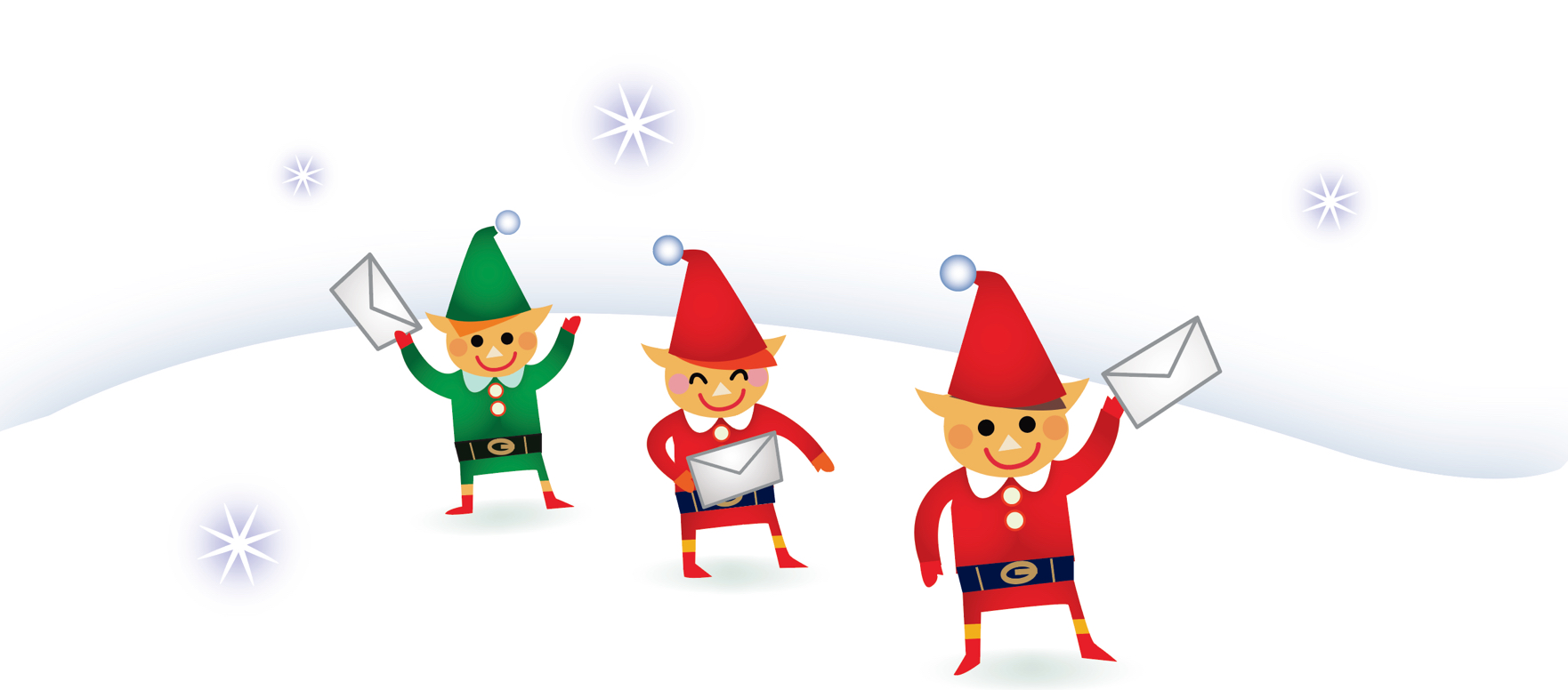 3 elves hold letters from children to Santa, sent by Canada Post.
