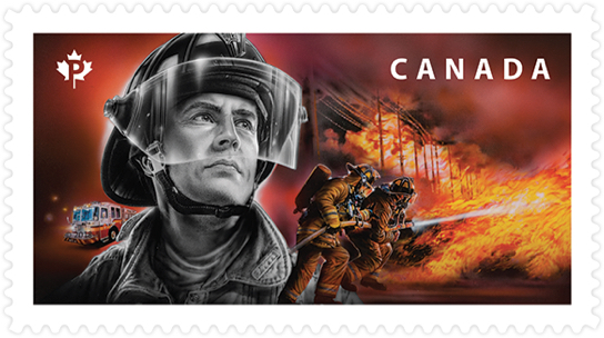 Canada Post stamp honouring firefighters. Stamp depicts firemen battling blaze in the distance.