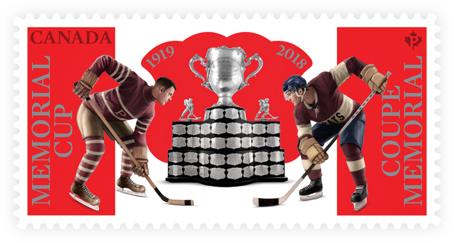 Canada Post stamp honouring 100th presentation of the Memorial Cup. Stamp depicts two hockey players facing off for the cup.