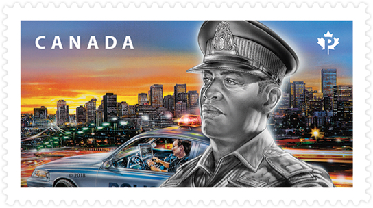 Canada Post stamp honouring Canadian police. Stamp depicts a police officer, police car and major city.