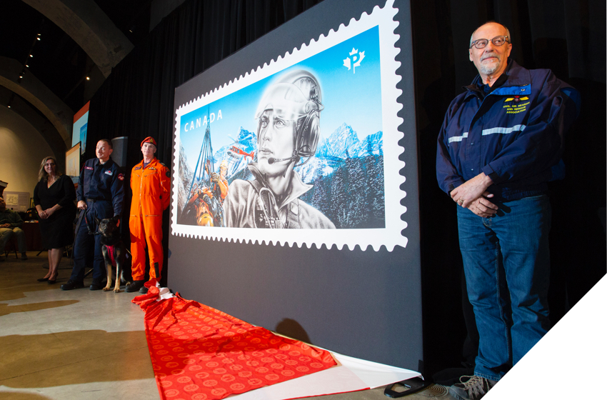 Unveiling ceremony for special edition Canada Post stamp honouring search and rescue experts in Canada.
