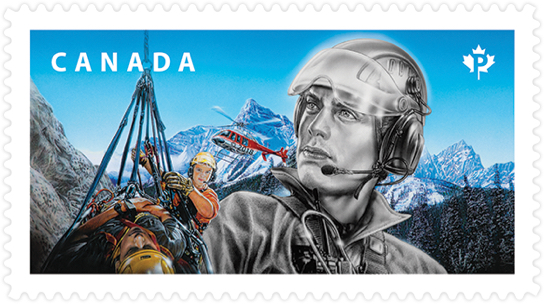 Canada Post stamp honouring search and rescue experts. Stamp depicts team performing helicopter extraction in the mountains.