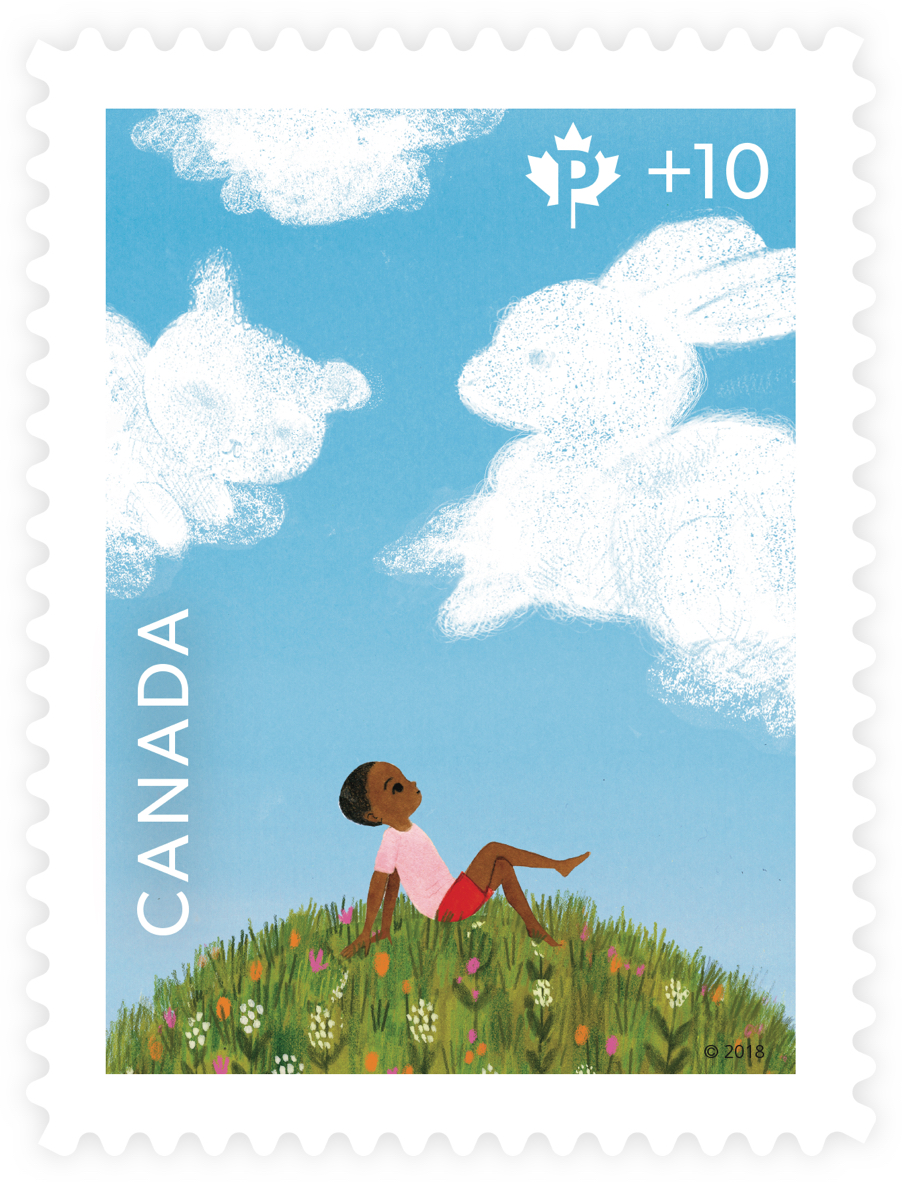 Special edition Canada Post fundraising stamp for Canada Post Community Foundation. The stamp depicts a young boy sitting in the grass looking at animal-shaped clouds.