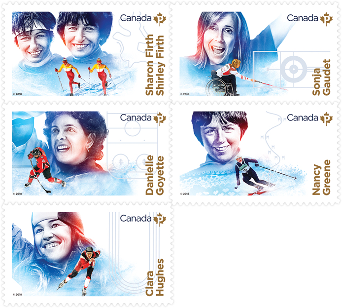 Canada Post stamps featuring athletes: Sharon and Shirley Firth, Sonja Gaudet, Danielle Goyette, Nancy Greene, Clara Hughes.