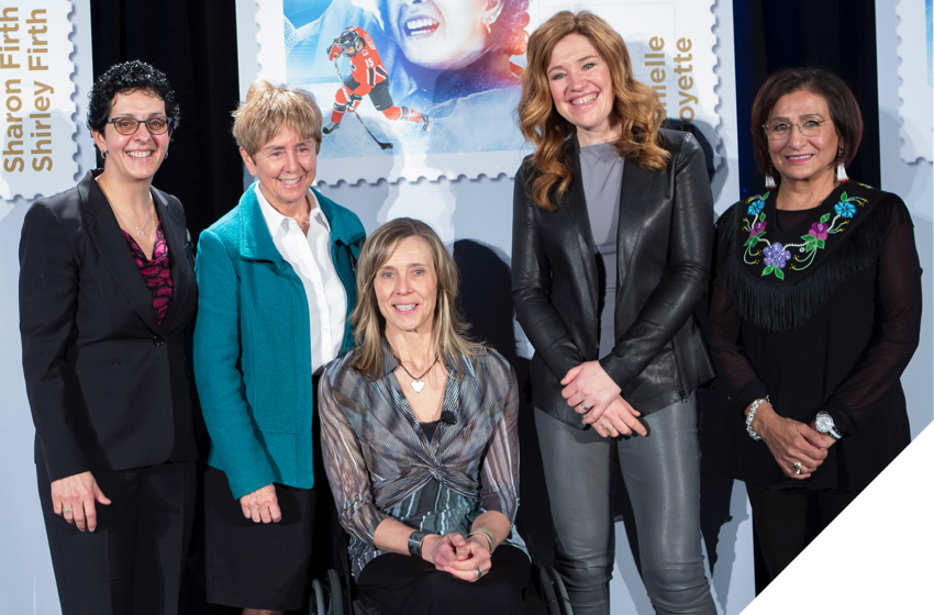 Sharon Firth, Sonja Gaudet, Danielle Goyette, Nancy Greene, Clara Hughes at event honouring them with stamps.