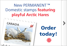 New PERMANENT Domestic stamps featuring playful Arctic Hares. Order today!