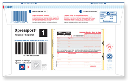 Bar-coded prepaid envelope