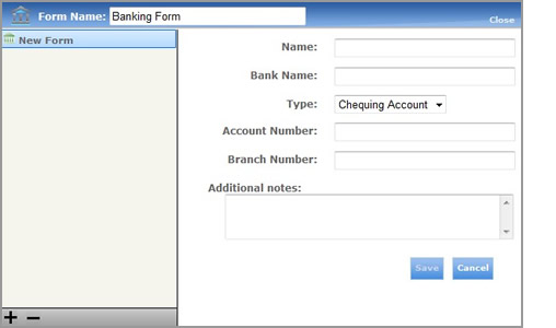 Bank Accounts Blank Form