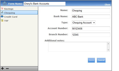 Bank Accounts Form